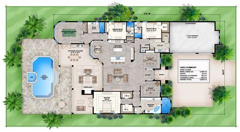 Coastal Home Plan 3 Bedrms 4 5 Baths 3489 Sq Ft