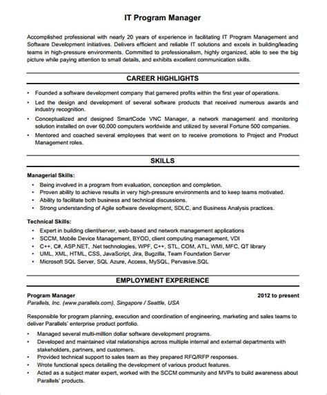 Program Manager Resume Template by 8 Project Manager Resumes Sles Exles Templates