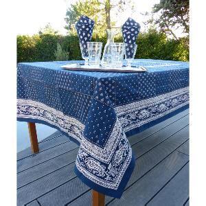 nappe rectangulaire provencale bleue motifs blancs