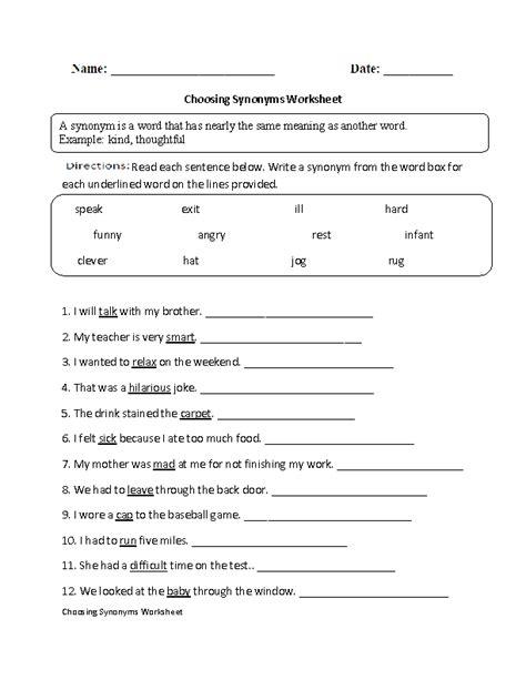 Synonyms Worksheets  Choosing Syonyms Worksheet