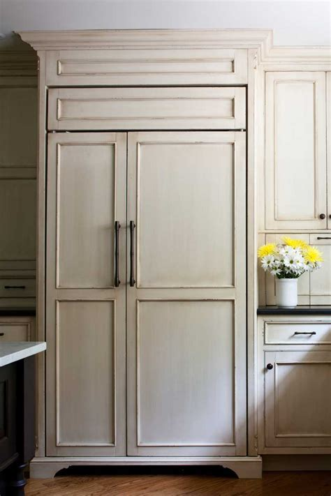 Sub Zero Refrigerator with Wood Panels   Giorgi Kitchens
