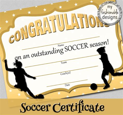 soccer certificate templates   sample templates