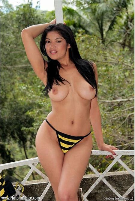 Topless Busty Latina In Her Black And Yellow Striped Panties from LaTeenie.com