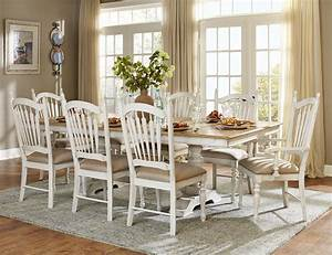 Hollyhock Distressed White Dining Room Set From