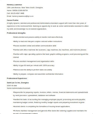 Senior Administrative Assistant Resume by Sle Senior Executive Assistant Resume 6 Exles In