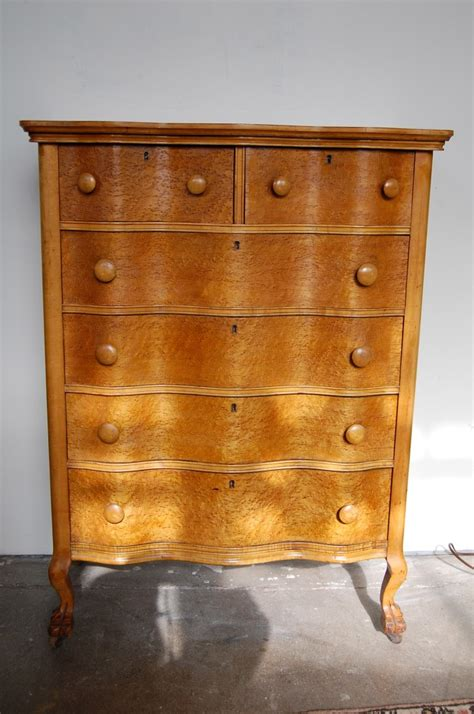 Birdseye Maple Highboy Dresser serpentine birdseye maple burl highboy dresser circa 1890