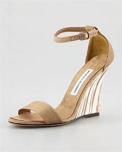 Manolo blahnik Izione Ankle-strap Wedge Sandal in Metallic ...