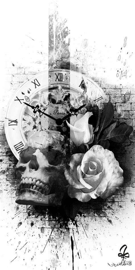 Tattoo, Photoshop, skull, Watch, rose, Burtscher N