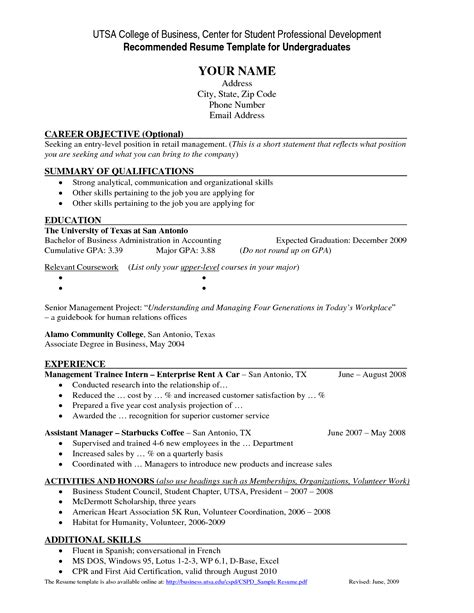 resume template  college students httpwww