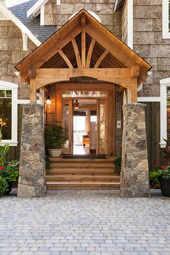 Stone And Wood Front Porch Entryway To Upscale Country ...