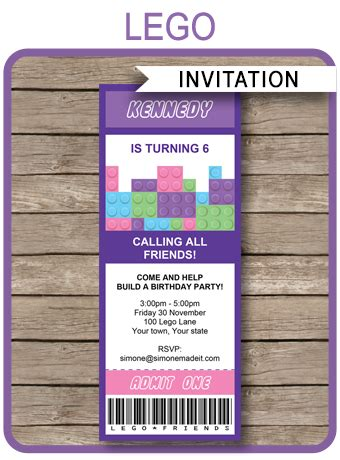 lego friends ticket invitations birthday party template