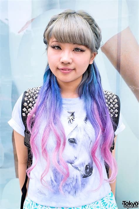 Aspiring Japanese Singer W Dip Dye Hair And Clear Backpack