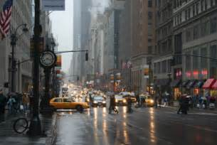 Rainy New York City Street Scene
