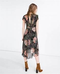 robe a volants zara mi longue imprime fleurs fluide la With robe longue fluide à fleurs