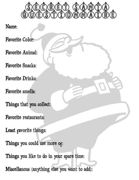 secret santa questionnaire templates 25 best ideas about secret santa questionnaire on secret santa questions secret