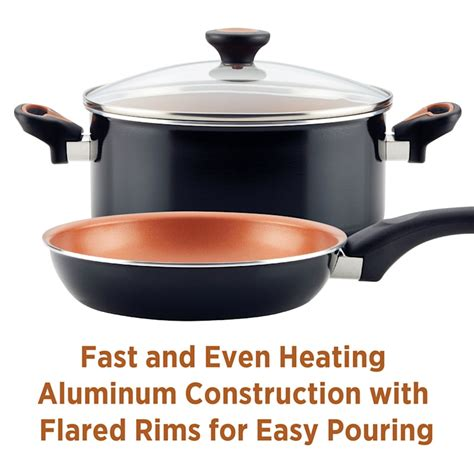 farberware glide copper ceramic nonstick cookware set black  piece  home