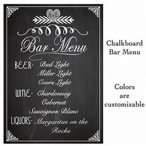 Wedding Sign Drink Bar Menu Chalkboard Rustic Sign