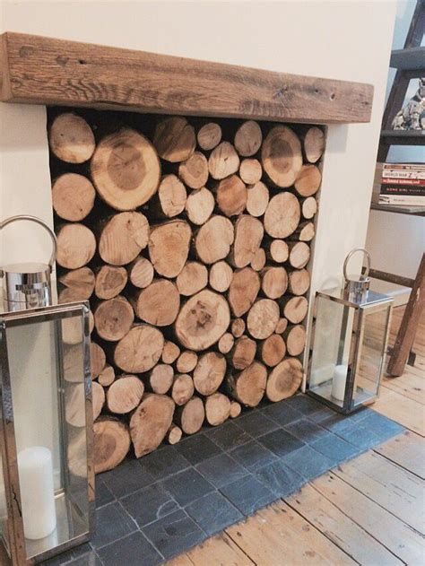 autumnal christmas filled log fireplace  reclaimed