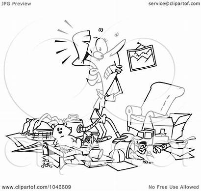 Messy Living Clipart Clip Cartoon Woman Clean