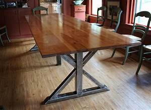 Handmade, Birch, And, Steel, Trestle, Dining, Table, By, Higgins, Fabrication