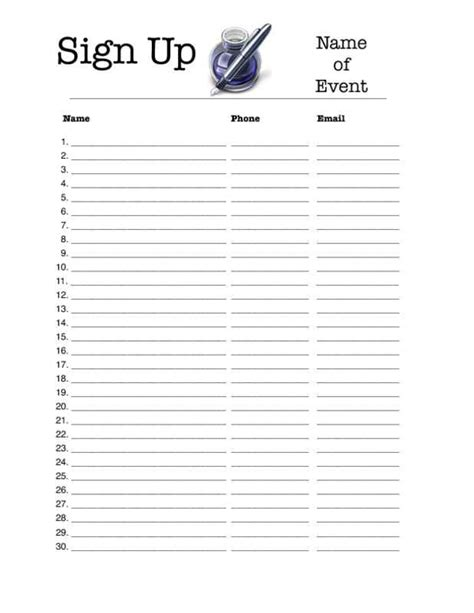 event sign  sheet template charlotte clergy coalition