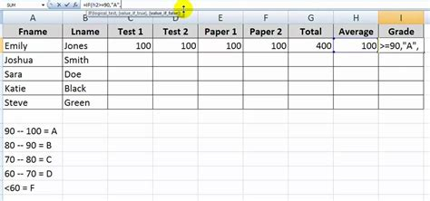 Letter Exle by How To Use The If Function With Letter Grades In Excel