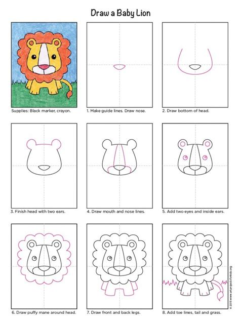 draw  baby lion art projects  kids