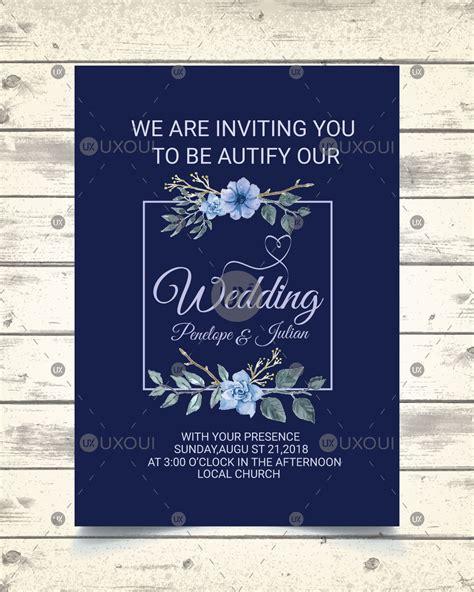Vintage wedding invitation card design template with