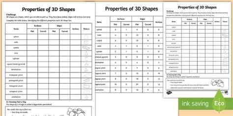 properties of 3d shapes worksheet worksheet 3d shapes