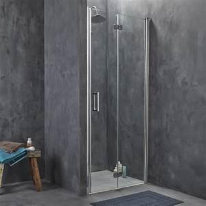 Porte de douche pivo pliante breuer entra verre de for Porte pliante de douche