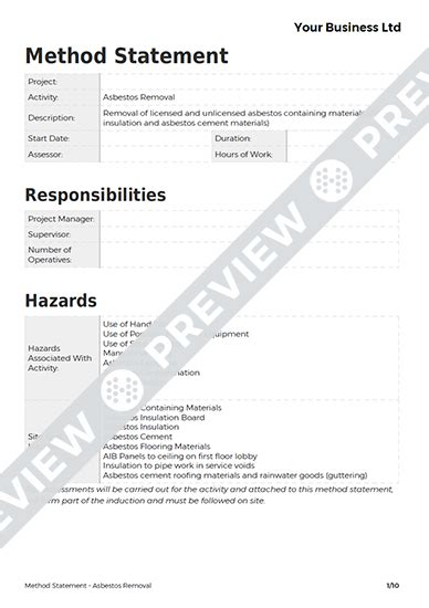 asbestos removal method statement template haspod