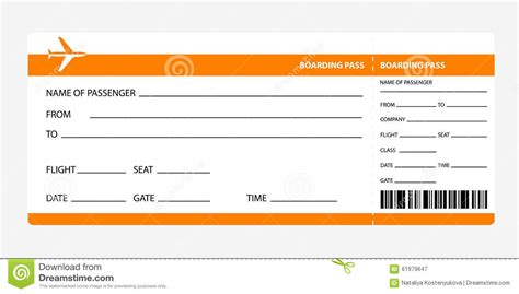 orange boarding pass stock vector illustration  airport