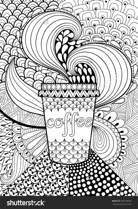 These free printable coloring pages for adults come in a coffee theme, because, i'm obsessed! coffee cup coloring page illustration | Shutterstock 448758076 | Adult coloring, Coloring pages