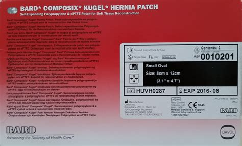 bard  composix kugel hernia patch small oval cm