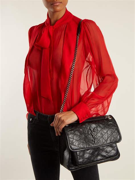 saint laurent niki medium quilted leather bag  black lyst