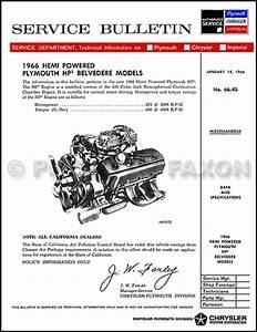 1966 Plymouth Repair Shop Manual Reprint