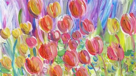Burton Flower And Garden by Original Acrylic Painting Quot Tulip Garden Quot By Fine Artist