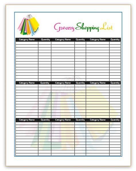 grocery list template 7 shopping list templates office templates