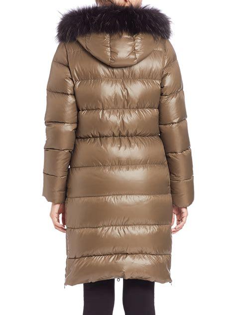 duvetica deneb fur trimmed long  puffer coat  natural lyst
