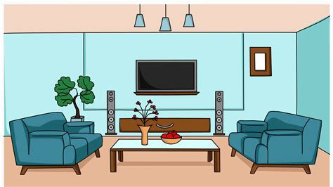 living room sketch illustration hand drawn animation