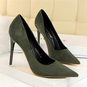 Green Suede Point Toe High Heel Pumps Womens Heels Heelscn