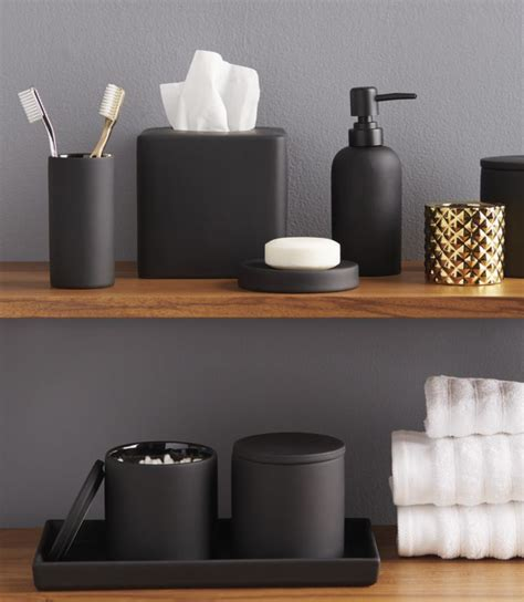 Modern Black And White Bathroom Accessories by Rubber Coated Black Bath Countertop Accessories In 2019
