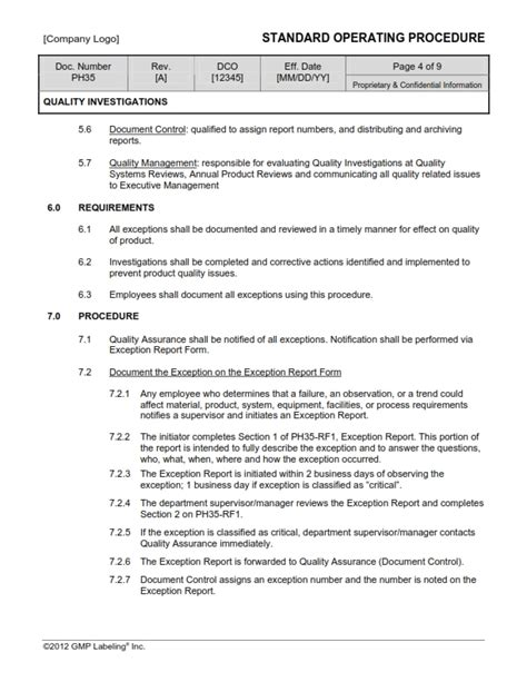 quality investigations sop template ph gmp qsr iso comp