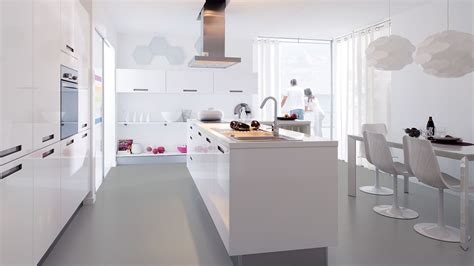Cuisine Equipee Laquee Blanc  Cuisine En Image
