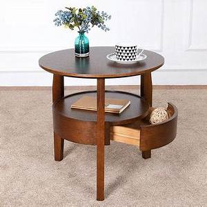 coffee table small round table wooden living room simple With round wooden coffee table with drawers