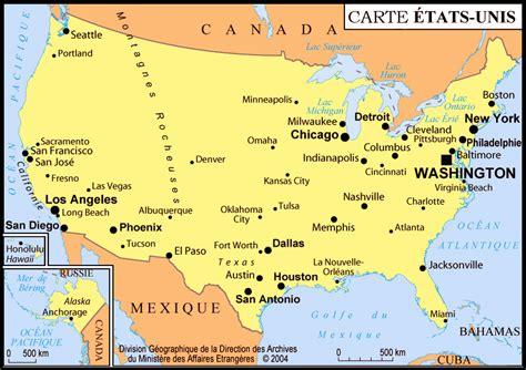 Carte Etats Unis Canada Avec Villes by Infos Sur Carte De Usa Avec Les Ville Arts Et Voyages