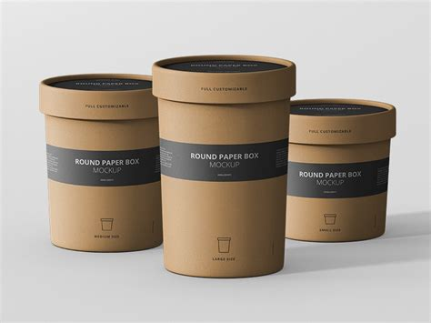 Now you're even closer to fitting every shade of your presentation aims. Round Paper Box Mockup Collection by Viscon Design ...