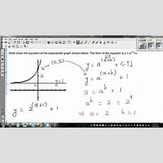Writing Equation Of A Transformed Exponential Graph Youtube