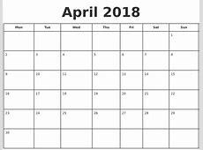 April 2018 Print A Calendar