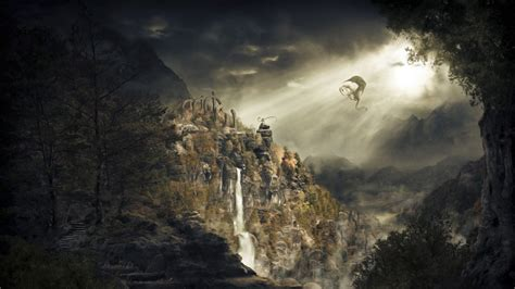 waterfall skyrim dragonborn dragon mountain phone wallpapers